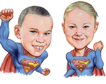 Caricature Superheroes - head and shoulder