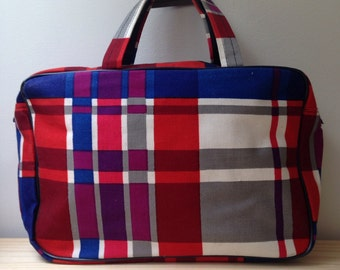 Vintage Plaid Make Up Bag With Handles Bold Plaid Pop Art