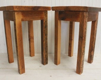 Matching Reclaimed Wood Side Tables
