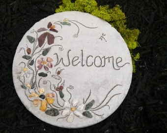 "Engraved ""Welcome"" Stepping Stone, Welcome sign, Housewarming Gift, Garden Decor, All-Natural Stepping Stone, Mosaic Garden Paver, Yard Art"
