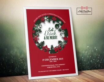 Christmas Party Invitation Printable, Christmas Invitation Printable, Eat Drink & Be Merry Invitation, Xmas Invitation Printable