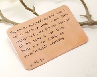 Copper Wallet Insert Card - Customized personal messages- Husband, Boyfriend Gift 7 Year- Birthday Gift for Husband- Boyfriend Birthday Gift