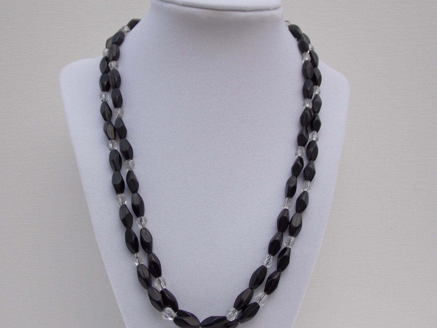 1950s Jewelry Necklace Black Beads Clear Beads 1950s