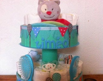 "Diaper cake ""C'est la Fête"" customizable"