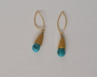 Vintage Textured Gold Tone Blue Turquoise Dangle Hook Earrings