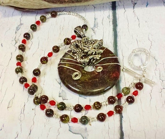 Dragon Blood Jasper Game of Thrones Inspired Statement Necklace ~ Powerful Jasper Viking Style Jewelry ~ Anniversary, Birthday Gift for Leo