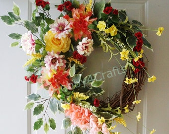 Large Wreath, Summer Roses Wreath, Fall Wreath, Roses Chrysanthemum Mums Door Wreath Ready to Ship
