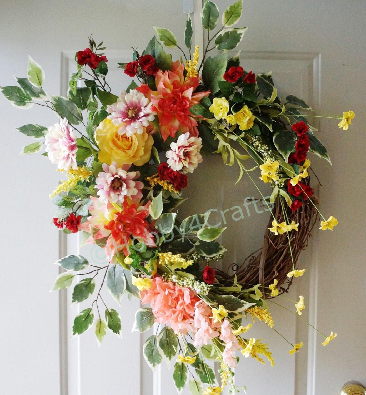 large wreath summer roses wreath fall wreath roses. Black Bedroom Furniture Sets. Home Design Ideas