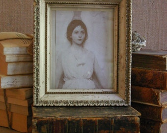 Small Old White Wooden Frame with Vintage Print of Young Girl