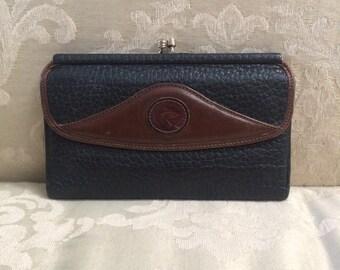 Vintage Dooney&Bourke, Vintage Leather Wallet, Black Leather Wallet, Dooney and Bourke Wallet, Kiss Lock Wallet, Dooney and Bourke