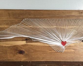 12x24 North Carolina string art/ NC nail string art. North Carolina home wall art..