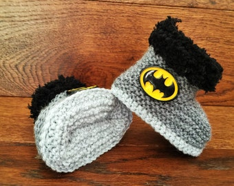 Hand Knitted Baby Boy Booties/Boots/Slippers/Shoes Batman Grey Soft Tops 0-12M UK Seller Superhero
