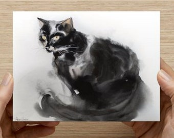 "Card with my cat art Postcards (5.47"" x 4.21"")"