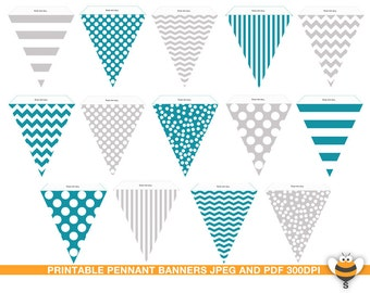 Printable teal and grey gray bunting flags party room decor, pennant garland, stripes, chevron. polka dots pattern, party decor, photo prop
