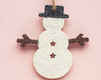 Snowman Decoration, Traditional Christmas, Glitter Decoration, Festive, Snowman Tree Decoration, Hanging Ornament, Star Cut Out, Wooden