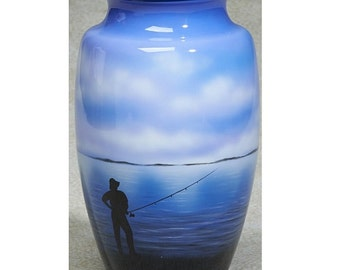 Hand Painted Fisherman Urn