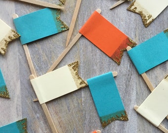 Gold Tipped Cream, Orange and Teal Flag Cupcake Toppers // Blue Food Flags - Set of 12