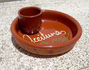 OLIVE BOWL ,Tapas Plate - Spanish pottery , olive dish , Rustic pottery ,  rustic clay olive plate , glazed ceramic dish , earthen ware Bowl