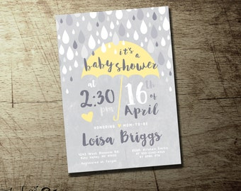 Umbrella baby shower invitations |  baby boy |  baby girl | gender neutral baby shower invitation yellow gray, pink, blue and purple