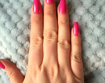 FALSE NAILS - Bright Pink - Stick On - The Holy Nail UK