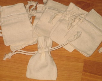 lot of  10 2X3 natural cotton bags draw string craft wedding ,gift