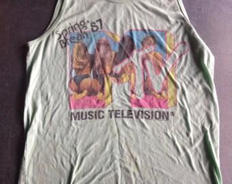 MTV Spring Break 87 graphic tank top size S