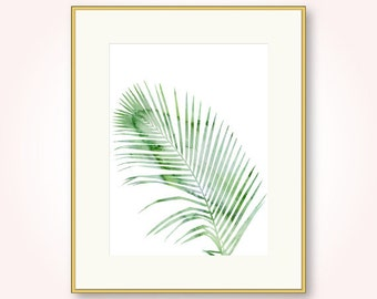 palm tree leaf digital instant download green tropical leaves beach living room bedroom wall art decor large watercolor nature printable