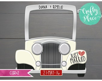 Vintage car cutout wedding photo booth frame prop / Printed and ready to use / Personalized / Oversized frame
