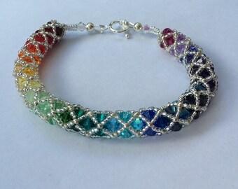 Spiral weave rainbow Swarovski bracelet