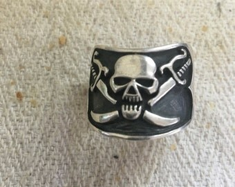 Pirate ring in silver large size 1980s