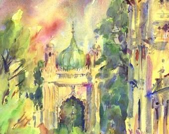 ROYAL PAVILION PRINT, Royal Pavilion, Mounted Print, Watercolour, Regency Architecture, Christmas Gift, Gardens, Palace, City Print
