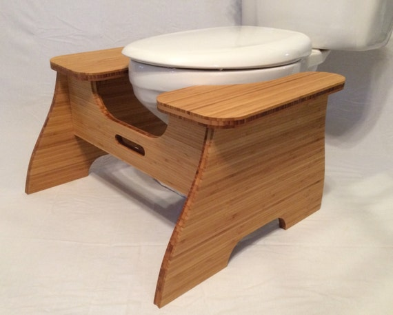 High Bamboo Poop Stoop Full Squat Toilet Foot Stool By