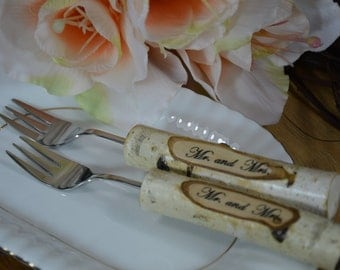 Wedding Forks, Wedding Cake Forks, Wedding Gift, Wedding Table BIRCH, Wedding Decor, Forks with Date, Forks