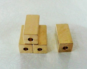 4 Pcs Raw Brass 10 x 10 x 20  mm Square Cube Beads, 3,5 mm Hole -Excellent quality