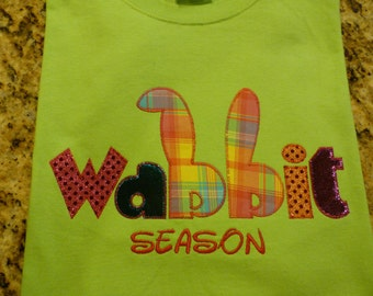Easter Appliqued T-Shirt Blingy Letters Wabbit Season Holiday Sparkle