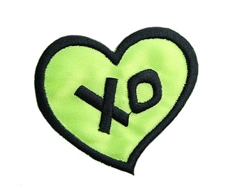 "Neon Green Heart ""XO""  2.5"" X 2.25"" Iron on Patch Applique Motif Embellishment Accessories Craft Supplies CF_Heart_XO"