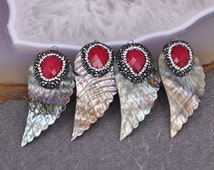 5pcs Rainbow Abalone Shell Pendant, Wings shape Seashell Druzy Pendant, With Pave Crystal and Red Faceted Gem Stone Pendant, Jewelry Making