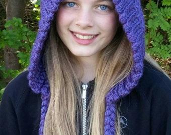 Purple Teens Women's tassel hood, women's winter hat
