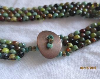 Size 8/0 Seed Bead Southwest Colors, peyote stitch, bracelet, copper button