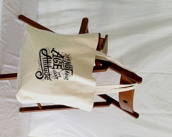 More Embroidered Typography Design on Canvas Tote Bag