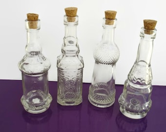 x4 Mixed Glass Bottles with Corks, Decorative Clear Glass 1.7oz, Perfect for favors, perfume, salts, oils, decor, 50ml Vials Collection