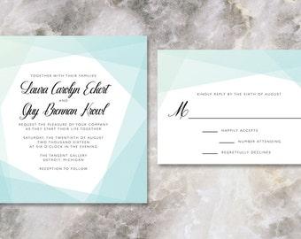 modern teal blue wedding invitation // THE PRISM // turquoise geometric mod design // DEPOSIT