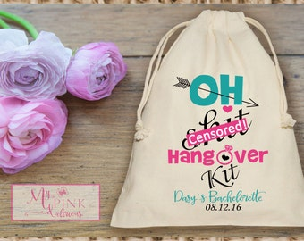 Oh Sh*t Hangover Kit  Bachelorette Party  Muslin  Bag - Mini Favor bag - Bridal shower bag-Recovery kit-Personalized muslin bag