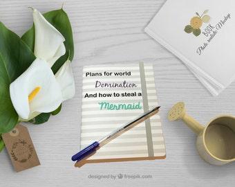 Mermaid Notebook - Gift idea - Gift for her - Birthday gift - Christmas gift - Gift for friend - Journal - Custom notepad - travel notebook