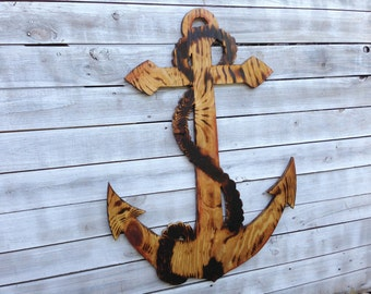 Wooden Anchor Wall Decor large anchor wall art outdoor anchor sign beach house decor