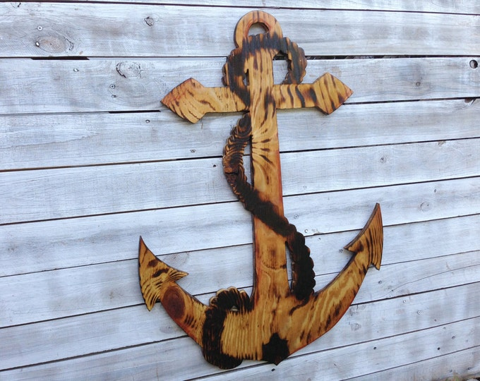 Large Anchor Man Cave Decor, Outdoor Wooden Wall Sign, Beach House Decoration, Wooden Anchor Wood Burning