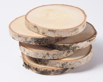 "15 birch coasters  4""-5"" , wooden slices, rustic wedding decoration, wood coasters,  wood discs for home decors"