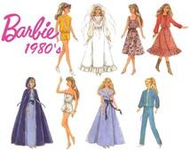 Vintage 80s Simplicity 8333 Sewing Pattern Wardrobe for 11-Half Inch Dolls Barbie and 12-Half Dolls Darci Dress Cape Wedding Romper Skirt