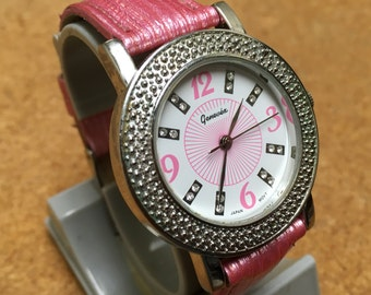 Vintage Genevex Mens Womens Pink Themed Diamond Scent Analog Quartz Watch Hours Clock~New Battery