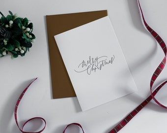 Holiday Greeting Card - Merry Christmas Calligraphy Card